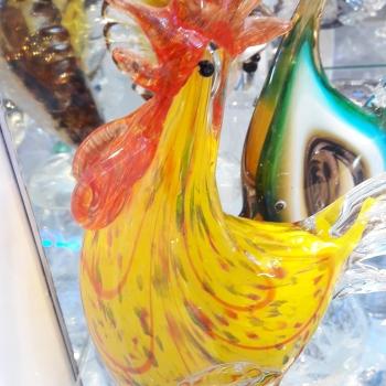 poule de collection en verre