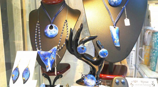 Gold leaf jewelry on enamel crystals